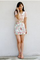 beige floral Peace Love Fashion skirt - pink Pill sandals