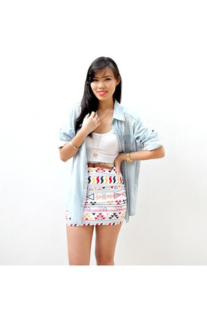 white aztec bodycon The Perfect Fit Shoppe skirt