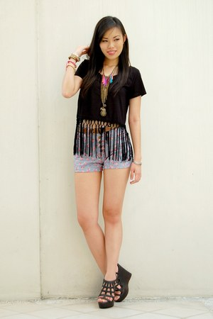 black fringe Forever 21 top