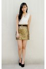 Gold-sequined-h-m-skirt-black-summersault-wedges