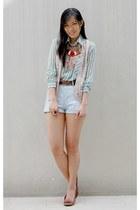 sky blue cotton on shorts - beige Coexist vest