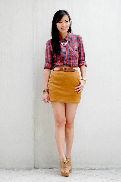 ruby red plaid Forever 21 top