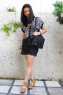 Black-tignanello-bag-navy-denim-shorts-mustard-wedges-leopard-print-top