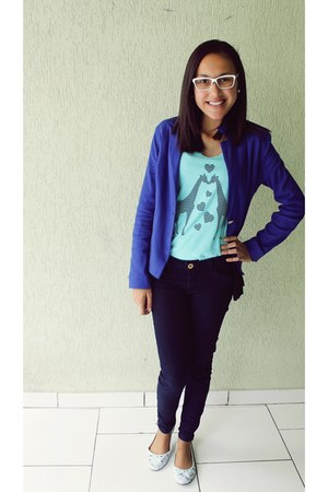 blue pants - navy blazer - turquoise blue shirt - shirt