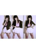 black blazer - pink top - white Forever 21 skirt - beige necklace