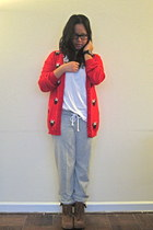 red Forever 21 sweater - heather gray Forever 21 pants - brown Rocket Dog boots