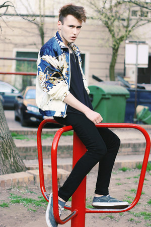 vintage jacket - Cheap Monday jeans - Vans sneakers - H&M t-shirt - H&M necklace
