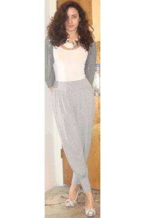 gray Switzerland pants - white Target blouse - gray Forever 21 cardigan - white