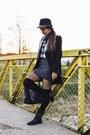 Black-leather-stradivarius-boots-black-zara-coat-black-plaid-h-m-shirt