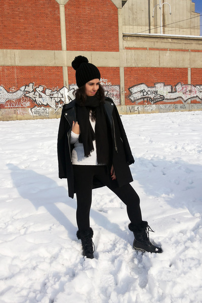black Zara coat - black Bershka leggings - black H&M scarf