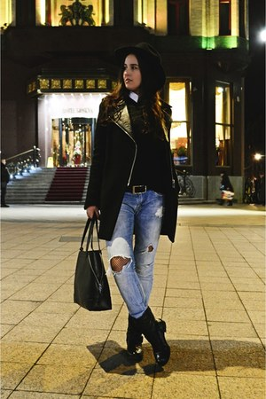 black H&M hat - black leather biker Stradivarius boots - black Zara coat