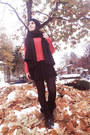 Black-zara-coat-brick-red-zara-sweater-black-h-m-scarf-black-h-m-skirt