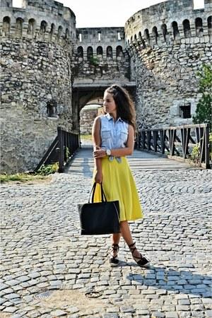 black c&a bag - light blue denim Stradivarius shirt