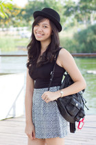 black H&M hat - black Esprit shorts - black H&M top - black Converse sneakers