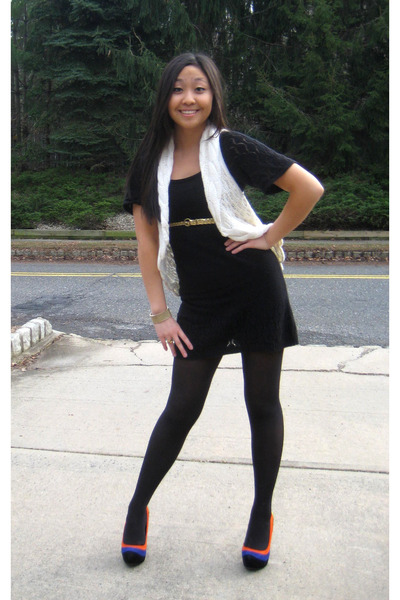 Black Dresses Gold Belts White Vests Black Stockings Blue Heels
