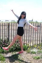 white Urban Outfitters top - black American Apparel skirt - red Forever 21 shoes
