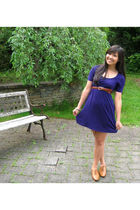 purple Forever 21 dress - brown vintage belt - brown Urban Outfitters shoes