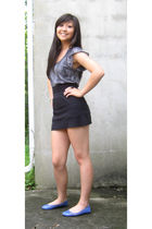 gray Heritage 1981 shirt - black Americal Apparel skirt - blue Forever 21 shoes
