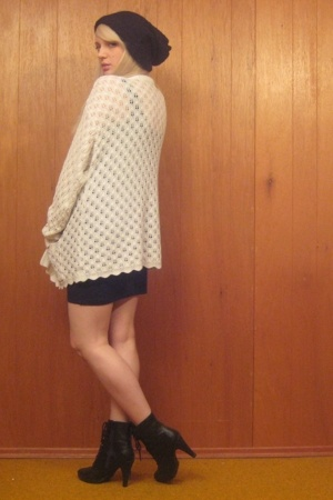 white vintage sweater - black Payless shoes - black zipper tank H&M dress
