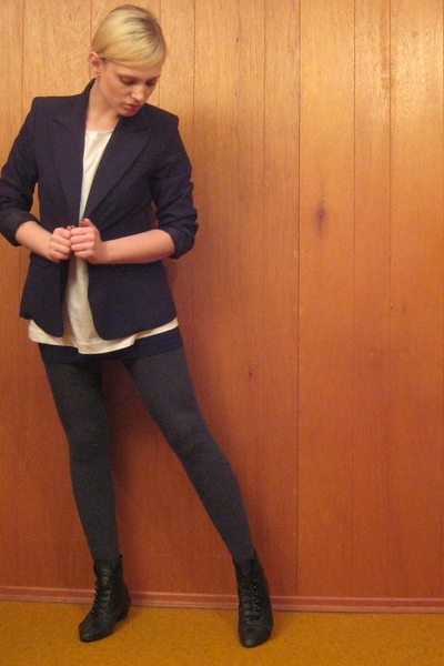 vintage blazer - H&M shirt - forever 21 dress - tights