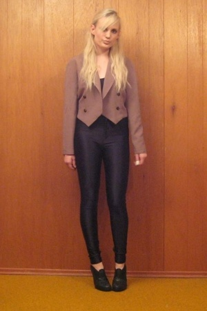 thrifted blazer - gravity pope boots - aa pants