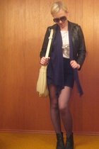 H&M t-shirt - American Apparel skirt - H&M purse - tights
