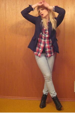 vintage blazer - H&M shirt - American Apparel t-shirt - garage jeans - vintage s
