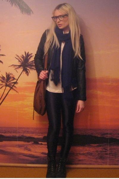hm shirt - hm jacket - aa pants - random scarf - thrifted boots - hm purse