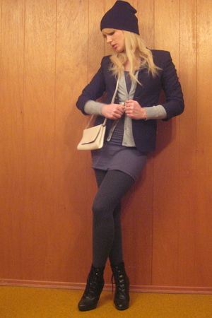vintage blazer - H&M sweater - American Apparel dress - tights - payless shoes -