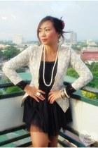 white lace coat - white pearl necklace - black tutu skirt - bracelet - white squ