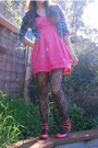 Hot-pink-forever-21-shoes-hot-pink-forever-21-dress-blue-forever-21-blazer-