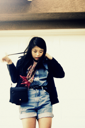 vintage blazer - vintage dress - Gap Denim vintage shorts - moms purse - vintage