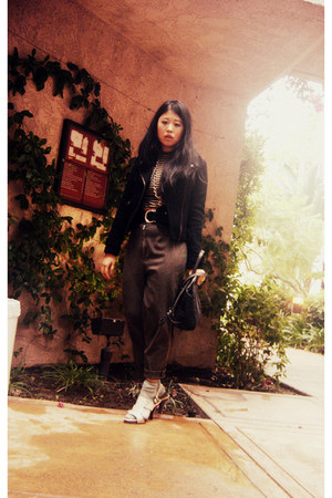 black H&M jacket - dark khaki made by mom pants - bronze made by me necklace - b