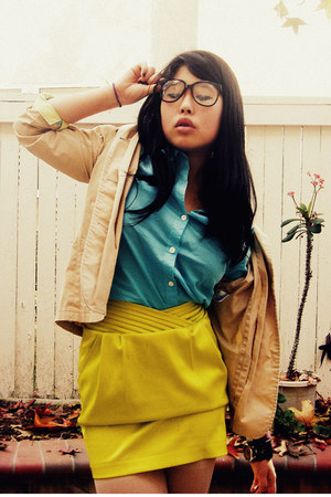 vintage blazer - button up Old Navy shirt - silk Arden B skirt