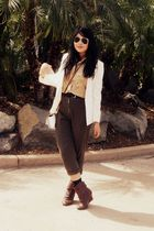 white Frank Lee blazer - brown Blossom boots - green made by mom pants - beige l