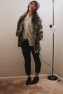 Leather-ankle-shoemint-boots-camo-army-us-army-jacket-vintage-shirt