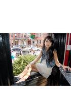 blue Gap vest - white LF dress - black H&M shoes