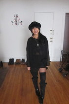 black bowler hat nixon hat - black thigh highs rugby socks - black sheer black M