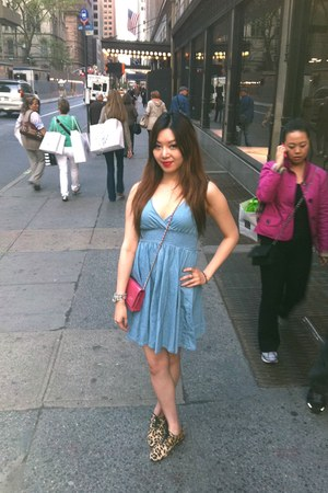 hot pink Chanel bag - sky blue jean H&M dress