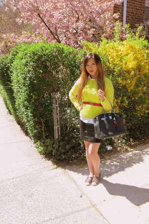 black Valentino shoes - yellow neon yellow Forever 21 sweater