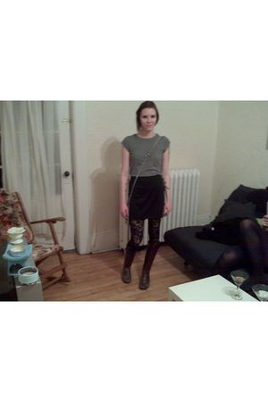 gray Smart Set shirt - black Sirens skirt - brown Suzy Shier boots - black wilfr