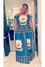 Blue-maxi-dress-local-store-dress-bubble-gum-wig-local-store-hair-accessory
