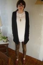 vintage glasses - ForLove 21 necklace - Nordstrom sweater - Topshop dress - Amer