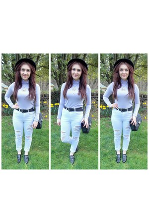 white Boohoo jeans - periwinkle Missguided top