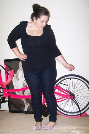 light pink ruffled Payless flats - navy skinny Target jeans - black H&M top