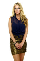 gold H & M skirt - navy Urban Outfitters blouse