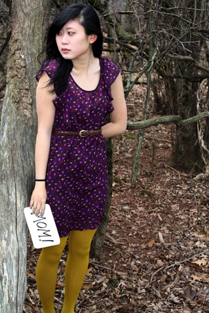 purple Heritage 1981 dress - gold Forever 21 tights - brown Italy belt - purple