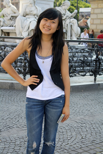 Urban Outfitters vest - American Apparel top - Urban Outfitters top - Delias jea