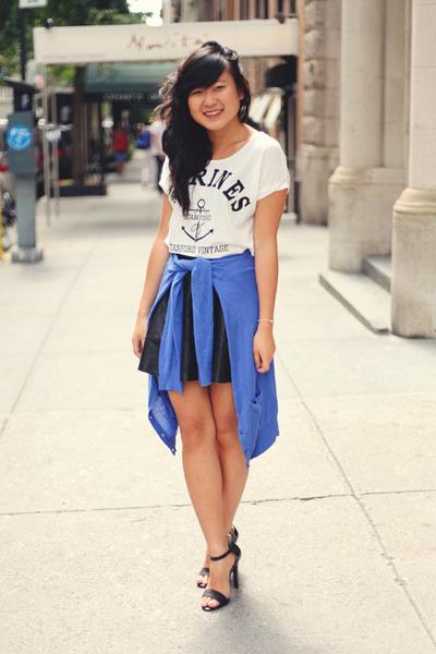 white crop chicnova top - blue cobalt H&M cardigan