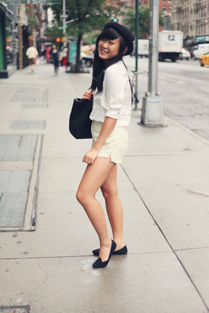white H&M blouse - black Urban Outfitters hat - black OASAP bag